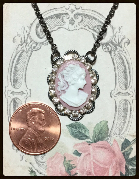 Cameo with Rhinestone Surround Necklace