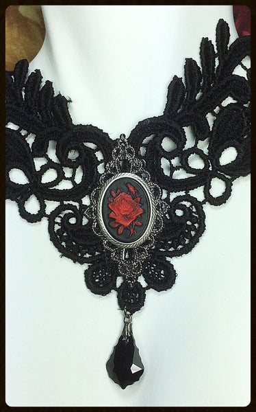 Lace Choker With Spanish Rose Cameo
