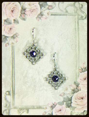 Crystals on Square Filigree Earrings