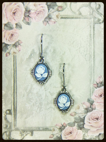 Small Cameo Earrings in Silver Tone Settings