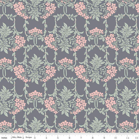 """The Hesketh House Collection""-  Nouveau Mayflower Gray/Pink by Liberty Fabrics"