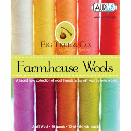 Farmhouse Wool Collection by Fig Tree & Co., 10 spools of Aurifil Wool Thread