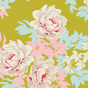 """SunKiss""-Beach Peony Lime by Tone Finnanger for Tilda"