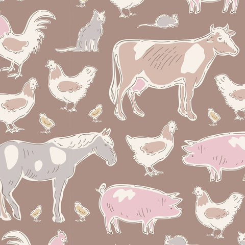 """Maple Farm & Tiny Farm""-Farm Animals Brown by Tone Finnanger for Tilda"
