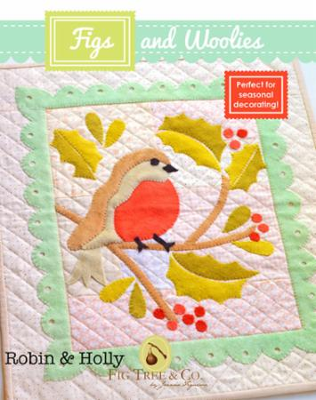 """Figs & Woolies"" Robin & Holly Pattern by Fig Tree & Company"