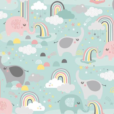 """Small & Mighty""-Turquoise Elephants & Rainbows Flannel by Angela Nickeas Collection for 3 Wishes Fabric"