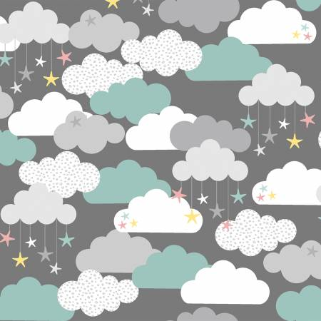 """Small & Mighty""-Grey Clouds & Stars Flannel by Angela Nickeas Collection for 3 Wishes Fabric"