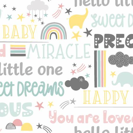 """Small & Mighty""-White Sweet Words Flannel by Angela Nickeas Collection for 3 Wishes Fabric"