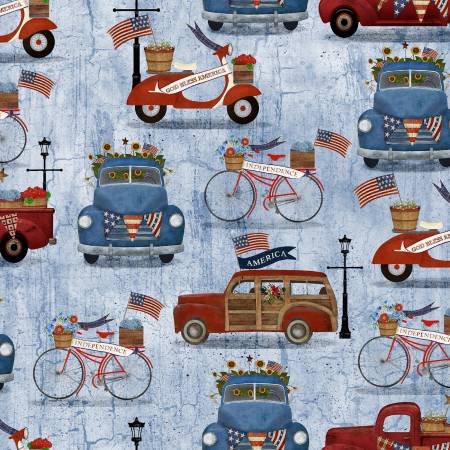 """Patriotic Summer""-Blue Vehicles Patriotic by Beth Albert for 3 Wishes Fabric"