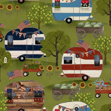 """Patriotic Summer""-Green Campers Patriotic by Beth Albert for 3 Wishes Fabric"