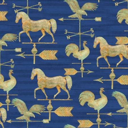 """Patriotic Summer""-Navy Weathervane Patriotic by Beth Albert for 3 Wishes Fabric"