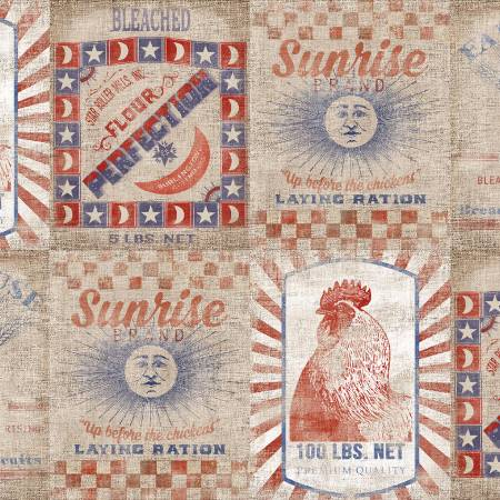 """Patriotic Summer""-Tan Flour Sacks Patriotic by Beth Albert for 3 Wishes Fabric"
