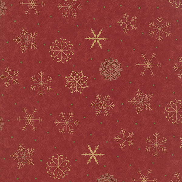 """Christmas Snowflakes Berry"" Red-Delightful December by Sandy Gervais for Moda"