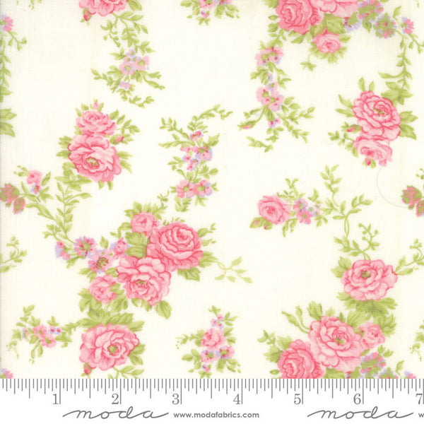 """Floral Climbing Fleurs Natural"" Pink-Fleurs by Brenda Riddle for Moda"
