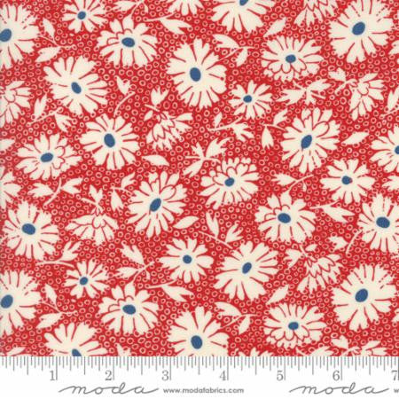 """Hop Skip and a Jump""-Cherry Lazy Daisy Red by American Jane for Moda"