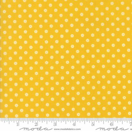 """Hop Skip and a Jump""-Ditsy Daisy Yellow Sunshine by American Jane for Moda"