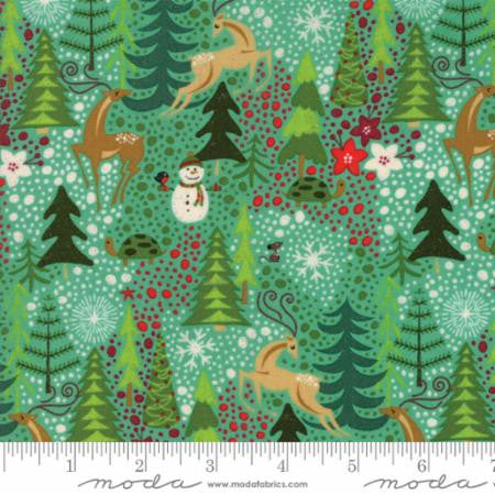 """Berry Merry""-Reindeer Games Aqua by Basic Grey for Moda"