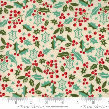 """Berry Merry""-Christmas Holly Natural by Basic Grey for Moda"