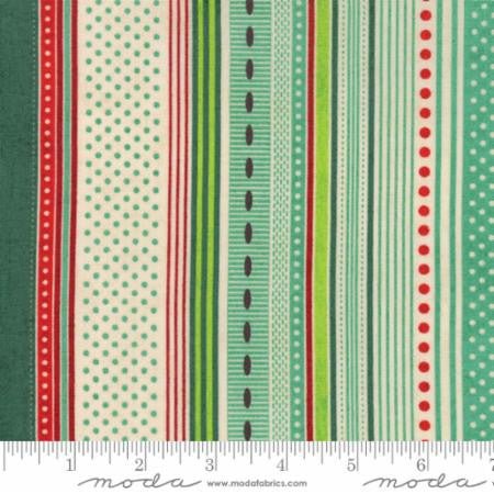 """Berry Merry""-Christmas Ribbon Stripe Aqua by Basic Grey for Moda"