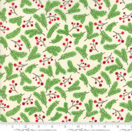 """Jingle Birds""-Christmas Holly Berries Natural Cream by Keiki for Moda"
