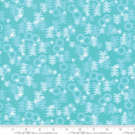 """Jingle Birds""-Christmas Trees Aqua by Keiki for Moda"