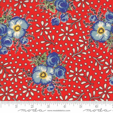"""Merry Go Round""- Large Floral Red by American Jane for Moda"