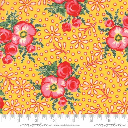 """Merry Go Round""- Large Floral Yellow by American Jane for Moda"