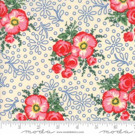 """Merry Go Round""- Large Floral Natural Ivory by American Jane for Moda"