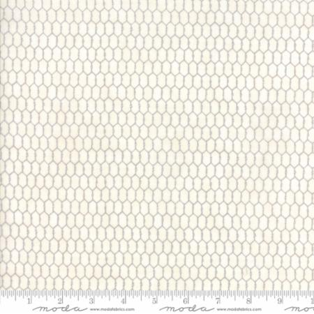 """Homegrown""-Distressed Whitewash Chicken Wire Natural by Deb Strain for Moda"