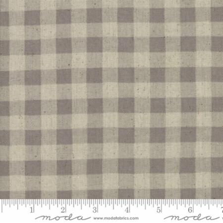 """Homegrown""-Homegrown Linens Barnyard Gingham Plaid Grey by Deb Strain for Moda"