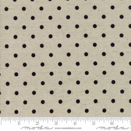 """Homegrown""-Homegrown Linens Linen Dot Black by Deb Strain for Moda"