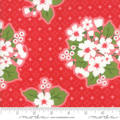 """All Weather Friend""-Floral Last Blooms Apple Red by April Rosenthal for Moda"