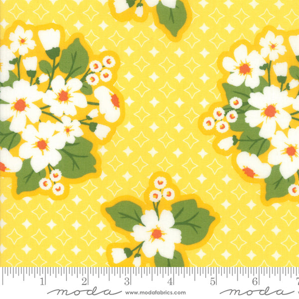"""All Weather Friend""-Floral Last Blooms Sunshine by April Rosenthal for Moda"