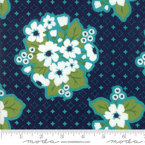 """All Weather Friend""-Floral Last Blooms Midnight by April Rosenthal for Moda"