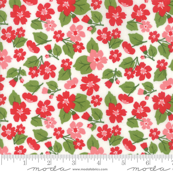 """All Weather Friend""-Floral Flower Field Apple Red by April Rosenthal for Moda"