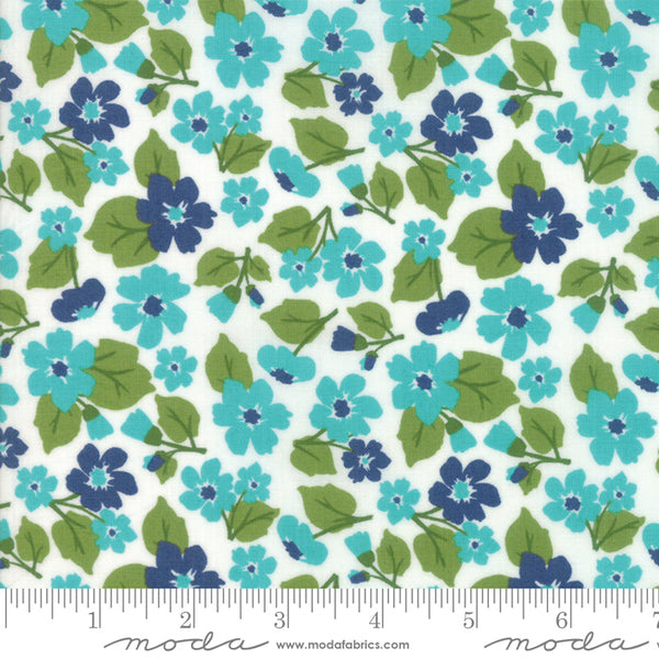 """All Weather Friend""-Floral Flower Field Creek by April Rosenthal for Moda"