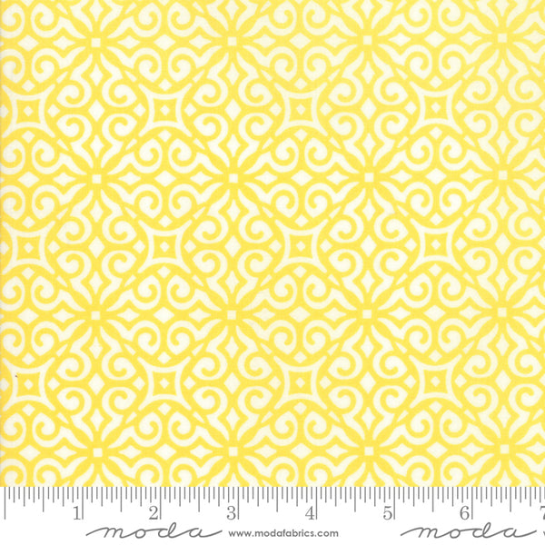"""All Weather Friend""-Floral Crisp Breeze Sunshine by April Rosenthal for Moda"