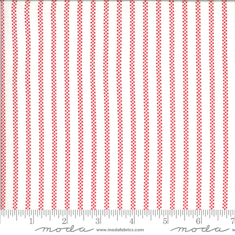 """Homestead""-Pin Stripe Cloud Apple by April Rosenthal for Moda"