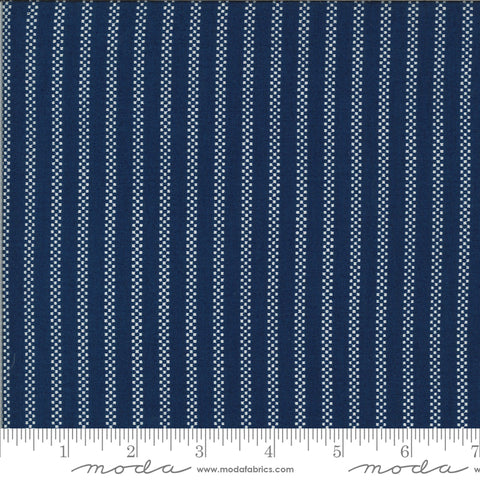 """Homestead""-Pin Stripe Midnight by April Rosenthal for Moda"