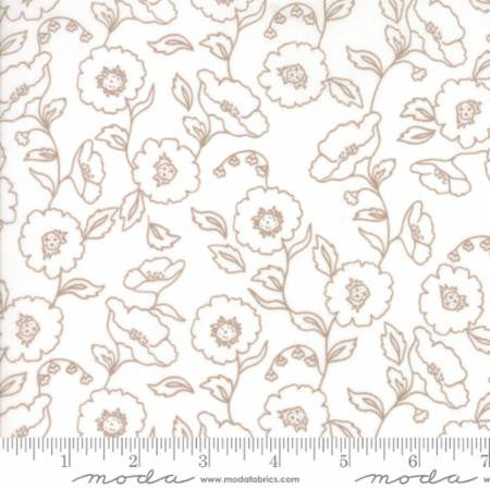"""Olives Flower Market""-Floral Wallflowers White Cloud by Lella Boutique for Moda"