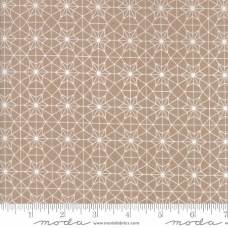 """Olives Flower Market""-Floral Cathedral Lace Tan by Lella Boutique for Moda"