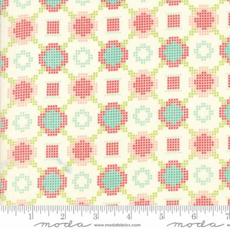 """Handmade""-Floral Cross Stitch Multi Red Aqua by Bonnie & Camille for Moda"