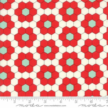 """Handmade""Floral Grandmothers Garden Red - by Bonnie & Camille for Moda"