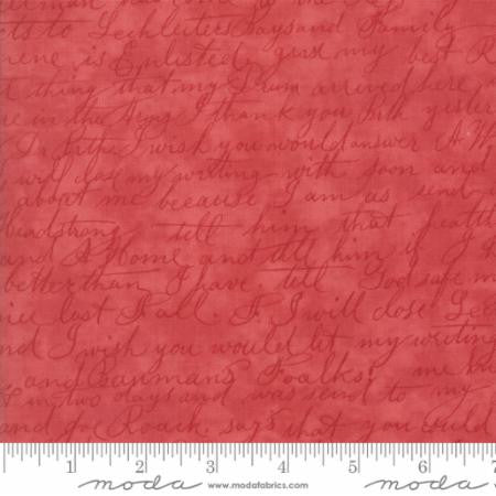 """Rose Floral Script Red""-Poetry Prints by 3 Sisters for Moda"