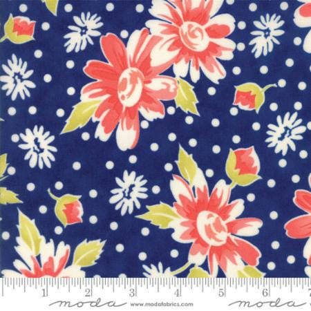 """Floral Daisy Blooms Dark Blue Midnight Blue""-Coney Island by Fig Tree Quilts for Moda"