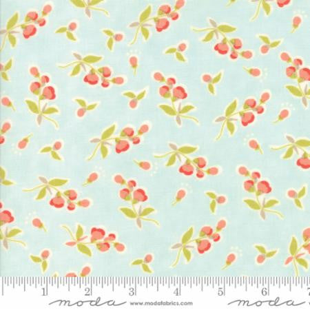 """Floral Posies Aqua Ocean Blue""-Coney Island by Fig Tree Quilts for Moda"
