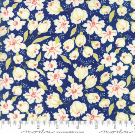 """Floral Buttercups Dark Blue Midnight Blue""-Coney Island by Fig Tree Quilts for Moda"