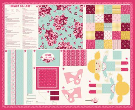 """Howdy""  Lil Lady Doll Multi Panel Pink by Stacy Iest Hsu for Moda"