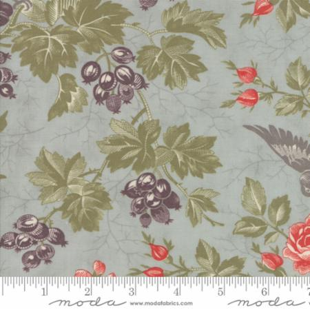 """Quill""-Floral Bird Toile Aqua Mist by 3 Sisters for Moda"