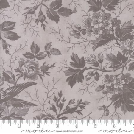 """Quill""-Floral Bird Toile Grey Tonal Feather by 3 Sisters for Moda"